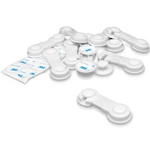 SALYNOW 10er Pack Kindersicherung Schranksicherung, Schubladensicherung mit 3M Kleber ohne Bohren, Baby Sicherhietsschloss mit Ersatzkleber