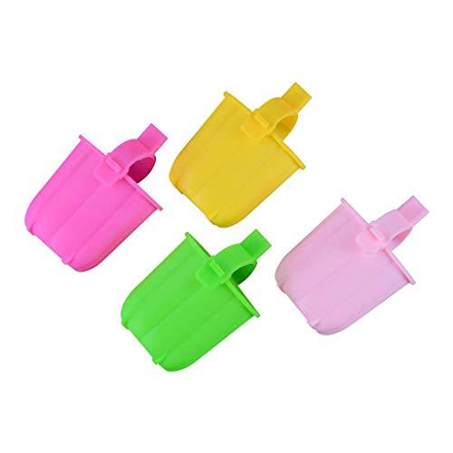 Uteruik Juego de moldes de silicona para paletas de hielo, moldes para palitos de hielo, soporte para bandeja de helado para niños y adultos, 4 unidades (color al azar)