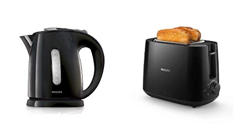 Philips HD4646/20 Serie Wasserkocher (1,5 Liter, 2400 Watt, Anti-Kalk), schwarz + Philips HD2581/90 Toaster, integrierter Brötchenaufsatz, 8 Bräunungsstufen, schwarz