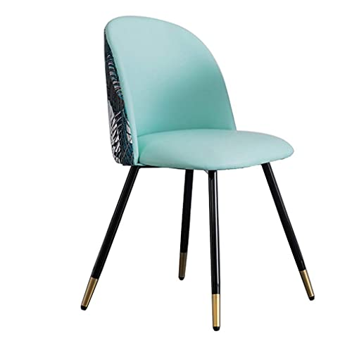 N&O Dining Chairs Set Soft Upholstered Seat with Metal Legs Kitchen Chairs for Living Room Reception Office Leather Embroidery Patchwork Chair (Color A Size 6)