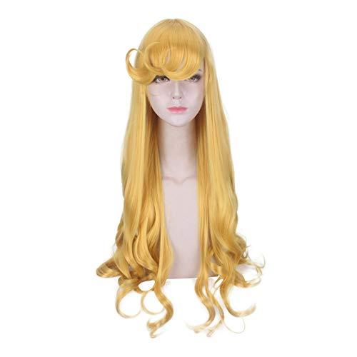 JINGGEGE Colorful Cosplay Wig Daily Party hairpieces Película Europea y Americana Peluca Estilismo Princesa Cos Durmiente Belleza Amarillo Mano Rollo Cosplay Anime Wig Wigs for Woman (Color : Yellow)