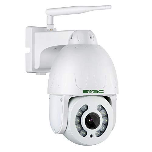 Telecamera wifi Esterno HD 5MP con Visione Notturna a Colori, SV3C Videosorveglianza con Zoom Ottico 5X, Pan 355° Tilt 120°, IP66, Rilevamento Umanoide, Audio a 2 vie, Remoto Tramite Telefono   PC