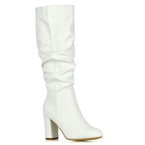 ESSEX GLAM Stivali Donna Bianco Pelle Sintetica Tacco Blocco metà Polpaccio Ginocchio Inverno Scarpe EU 40