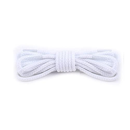 1 par de cordones de algodón encerados de cuero impermeable redondo cordones de zapatos Martin botas cordón de zapatos longitud 80/100/120/140/160 cm, color Blanco, talla 80 cm