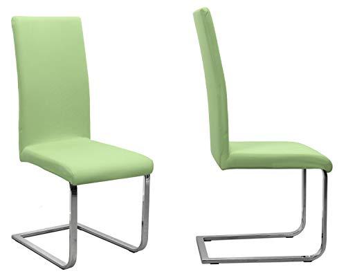 BEAUTEX 2er Set Jersey Stuhlhusse (Farbe wählbar), elastische Uni Stretch-Husse aus Baumwolle Bi-Elastisch (Hellgrün)