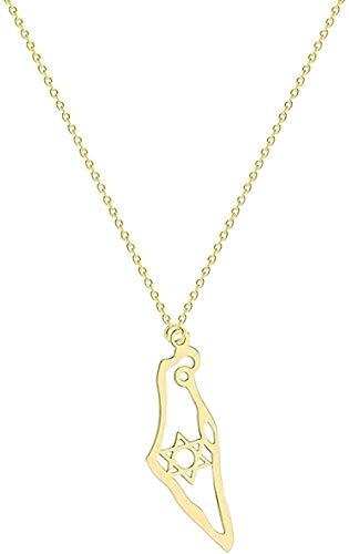 YOUZYHG co.,ltd Collar con Colgante Mapa de Israel Collar de Acero Inoxidable Mapa de Israel Collar para Mujeres Hombres Magen Estrella de David Joyería judía Regalos Regalo