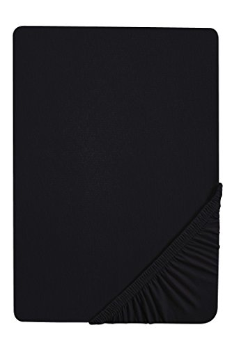 Traumhaft Schlafen - Castell – Markenbettwäsche 0077113 Spannbetttuch Jersey Stretch (Matratzenhöhe max. 22 cm) 1x 140x200 cm > 160x200 cm schwarz