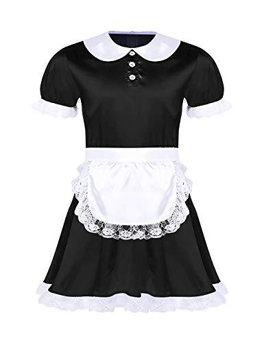 iEFiEL Herren Sissy Dessous Set Crossdressing Kostüm Maid Cosplay Kurzarm Satin Kleid mit Stirnband +Schürze Spitze Nachthemd Schwarz 2X-Large