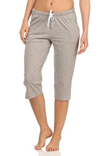 NORMANN-Wäschefabrik Damen Capri Pyjama Hose ¾-lang - Mix & Match - perfekt zum kombinieren 102 223 90 902, Farbe:grau, Größe2:48/50