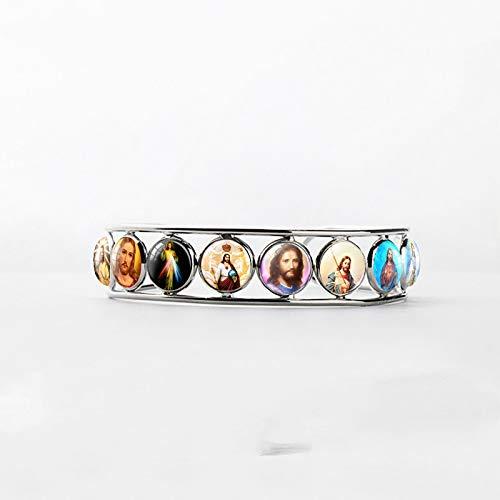 New Fashion Sacred Heart Of Jesus Jewelry Bangle Bracelets Glass Jesus Religion Jewelry Glass Dome Bangles Gifts For Christian