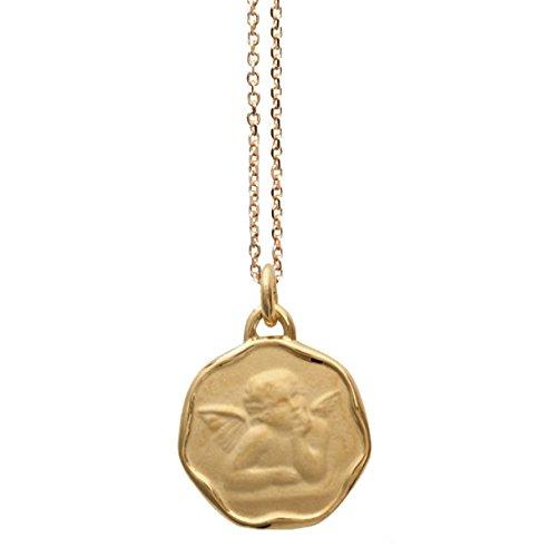 Conjunto de cadena de 40 cm y medalla circular en baño de oro con opción de grabado, para nacimiento, bautizo o comunión