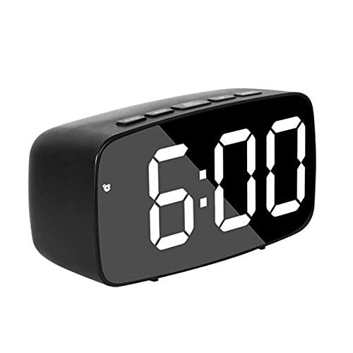 Despertador Acrílico/Espejo Reloj Despertador LED Reloj Digital Control de Voz Snooze Tiempo Tiempo Temperatura Modo de Noche (Color : Black Acrylic Circle)