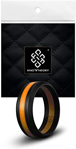 Knot Theory Striped Silicone Rings for Men Women – Black Orange Line 8mm Size 10 – Non-Bulky Sleek Design - Engagement Wedding Anniversary Husband Wife Fiance Gift - Travel Gym Workout Safe Band