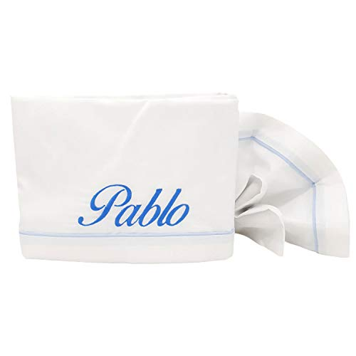 Sábanas de Cuna Personalizadas con el Nombre Bebé Bordado, Juego 3 Piezas 100% algodón Fabricado en España… (Acabados Azul)