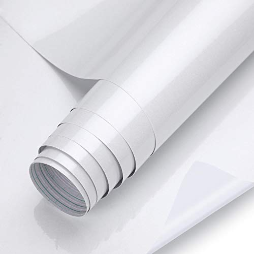KINLO Klebefolie - Möbelfolie Weiß Kücheschrank Folie aus PVC 61 x 500 cm Möbelaufkleber selbstklebend Aufkleber mit Glitzer Effect Dekofolie ohne Geruch Tapeten für Schrank/Möbel