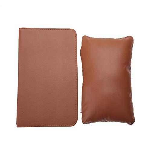 Almohada de mano para decoración de uñas - Almohada para reposo de manos lavable desmontable de cuero suave de PU + Estera de mesa de manicura plegable 3 colores(Marron oscuro)