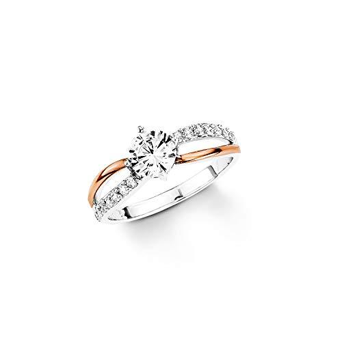 amor Ring für Damen Bicolor 925 Sterling Silber teil-rosévergoldet Zirkonia weiß
