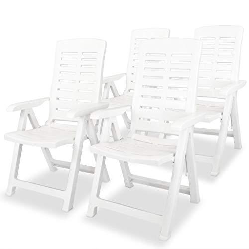 SKM Reclining Garden Chairs 4 pcs Plastic White