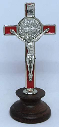 GTBITALY 10.006.11 Croce di San Benedetto smato Rosso Argento smaltato a Mano su Base Legno