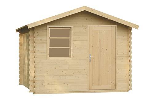 Alpholz Gerätehaus Toby aus Massiv-Holz | Gartenhaus mit 28 mm Wandstärke | Garten Holzhaus inklusive Montagematerial & Dachpappe | Geräteschuppen Größe: 300 x 210 cm | Satteldach
