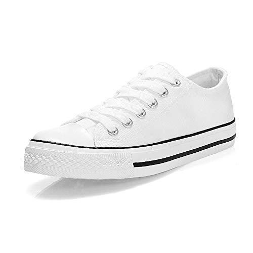Padgene Zapatillas Canvas de Lona Unisex Mujer Hombre Estilo Casual Calzado Deportivo (37 EU, Blanco Negro)