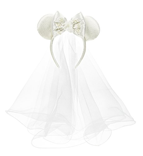 Disney Parks Minnie Mouse Mickey Ears Bride Veil Headband with Bow Faux Pearls Flowers