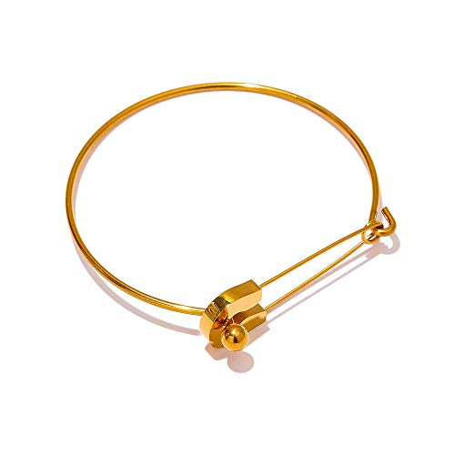 WQZYY&ASDCD Pulseras Brazalete Señoras Pin Brazalete De Metal Brazalete Acero Inoxidable Oro Brazalete Elegante Joyas