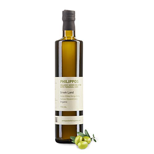 "BIO Olivenöl ""Greek Land"" | Extra natives Bio Olivenöl aus Griechenland | Kaltgepresst | Geringer Säuregehalt  0,6% | Philippos Hellenic Goods | DE-ÖKÖ-037 (0,75l)"