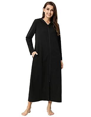 Women Cotton Robes Hoodie Long Sleeve Zipper Kimono Bathrobe with Pockets ZE0333