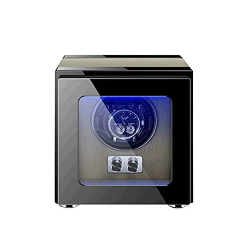 WRNM Cajas Giratorias para Relojes Caja Almacenamiento Lujo Madera Enrollables para Relojes con Azul Motor Silencioso con Luz LED para