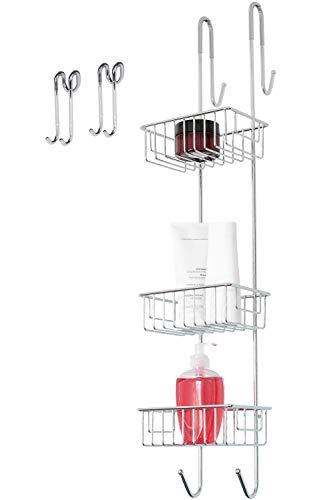 Bamodi Duschablage zum Hängen Edelstahl rostfrei - Duschkorb ohne Bohren Set - 2 Haken Duschwand und Duschregal verchromt (83 cm)