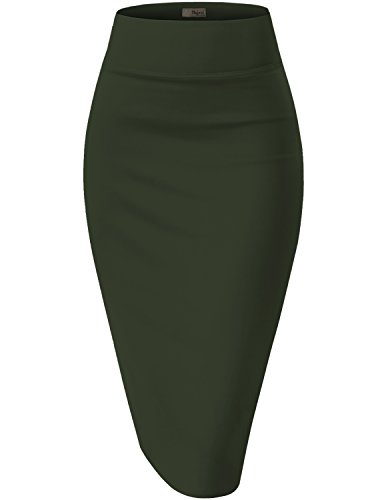 Hybrid & Company Womens Pencil Skirt for Office Wear KSK43584 1139 Olive XLarge