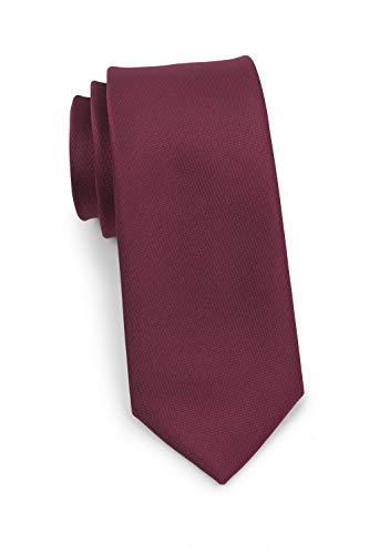 PUCCINI Schmale Krawatte, fein strukturiert, einfarbig matt, verschiedene Farben, Mikrofaser, Handarbeit, 7 cm Slim Tie (Dunkelrot)