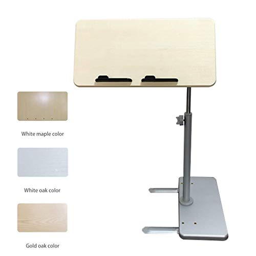 Überbetttische Verstellbarer Winkel und Höhe, tragbares Sofa/Bett/Laptop-Tablett - Flacher Rollbett-Schreibtisch - Kippbarer Überbett-Nachttisch für Krankenhaus- und Hausmedizin