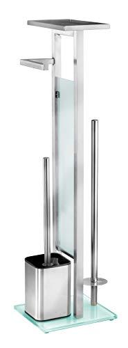 WENKO Stand WC-Garnitur Debar mit Ablage Edelstahl - WC-Bürstenhalter, Edelstahl rostfrei, 21 x 70.5 x 18 cm, Satiniert