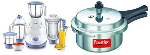 Prestige Iris(750 Watt) Mixer Grinder with 3 Stainless Steel Jar + 1 Juicer Jar, White and Blue &...