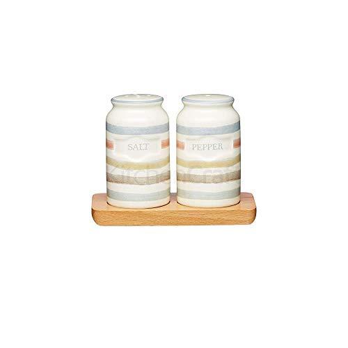 Kitchen Craft Salz- und Pfefferstreuer aus Keramik, aus der Classic-Kollektion, im Vintage-Stil, mit Tablett aus Holz, 3-teilig, cremefarben