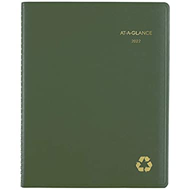 2022 Weekly & Monthly Appointment Book & Planner by AT-A-GLANCE, 8-1/4″ x 11″, Large, Recycled, Green (70950G60)