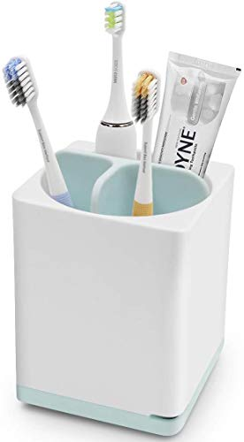 kitchenhoney Small Toothbrush Holder Multifunctional Bathroom Toothpaste Caddy Toothbrush Organizer Stand for Electric Toothbrush, Toothpaste, Comb, Razor