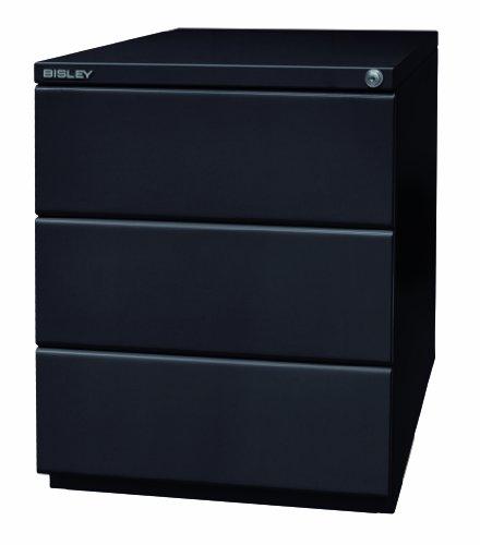 BISLEY OBA Rollcontainer in schwarz mit 3 Schüben | Bürocontainer aus Metall abschließbar | Büro Container mit Rollen
