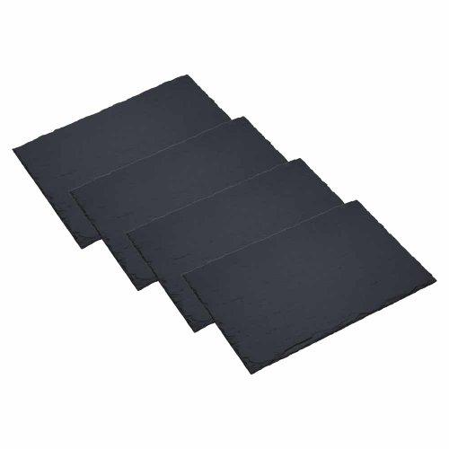 Artesà, Tischunterlagen aus Schiefer, 4-teiliges Set, Lebensmittel-Servierplatten/Tischschutz-Servierunterlagen aus Naturstein, 30 x 20 cm – Grau