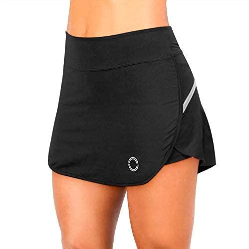 NEON STYLE - Falda de Pádel y Tenis Skirt Básica | Color Negro Básico | Talla L | Incorpora un Pantalón Deportivo de Lycra, Transpirable, Elástico y Cómodo | para Mujeres Deportistas