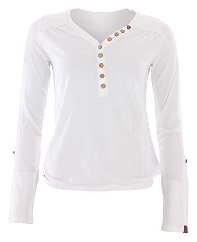 Ragwear Damen Pinch Solid Langarmshirt weiß XL