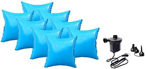 well2wellness® 8 x Pool Luftkissen Poolkissen Winterkissen mit neuem Ventil für Abdeckplanen Plus Elektropumpe