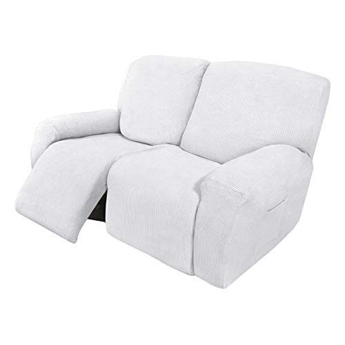 Easy-Going 6 Pieces Recliner Loveseat Stretch Sofa Slipcover Sofa Cover Furniture Protector Couch Soft with Elastic Bottom Kids, Spandex Jacquard Fabric Small Checks Snow White