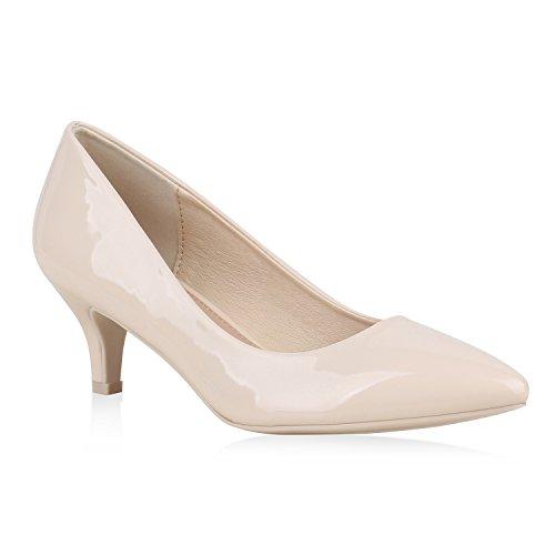Damen Spitze Pumps Stilettos Lack Elegante Business Party Schuhe 159652 Creme Autol Flandell