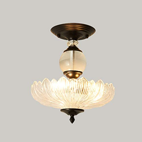 Luz de techo E27 Plafón American Simple Lámpara de techo de hierro forjado Pantalla de vidrio Luces de techo Dormitorio Sala de estar Pasillo Lámpara de techo (Color : Black)