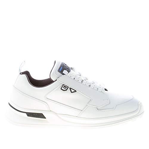 prada scarpe uomo Prada Uomo Sneaker in Pelle Bianco più Grigio Color Bianco Size 42.5 EU (UK 8.5)