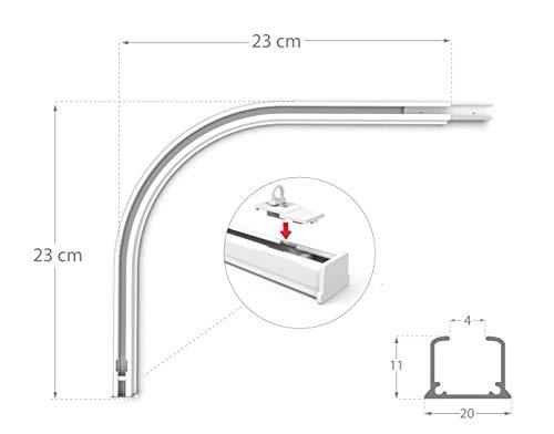 Rollmayer glänzend einläufig Gardinenschiene aus Aluminium (Rundbogen Weiß Links) Deckenbefestigung mit SMART-klick Montage, Innenlaufschiene für Vorhänge