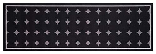 Küchenläufer Küchenteppich Küchen Matten Flur Läufer Teppich Deko waschbar robust modern Größe 140x45 cm 12 verschiedene Motive-Design und Farben (Dotty - Schwarz)